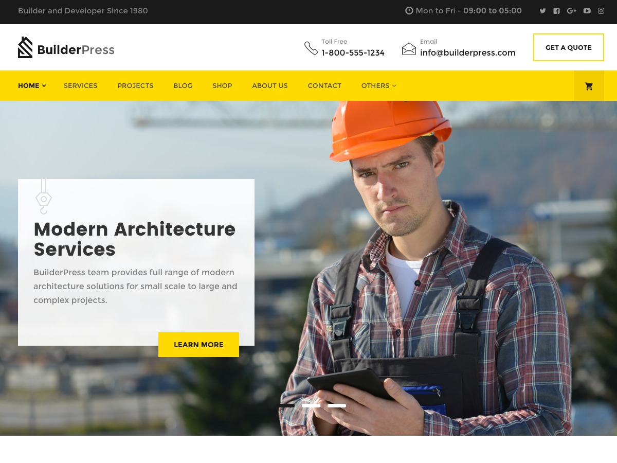 Inspiry BuilderPress company WordPress theme