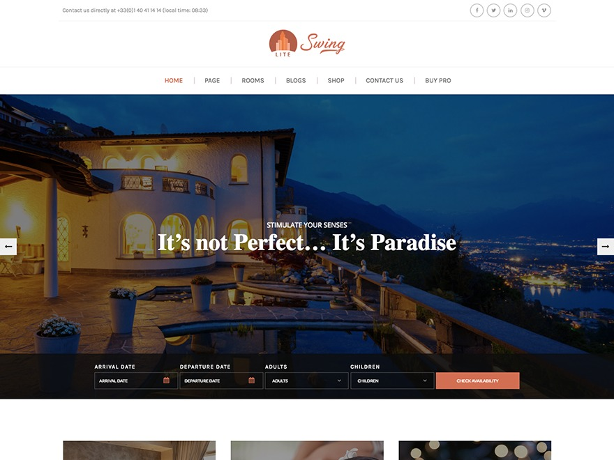 Swing Lite WordPress hotel theme