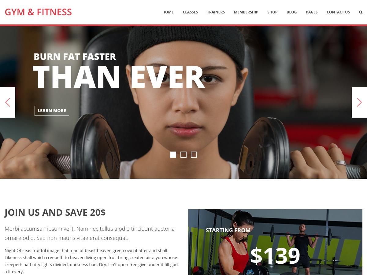 Gym WPL fitness WordPress theme