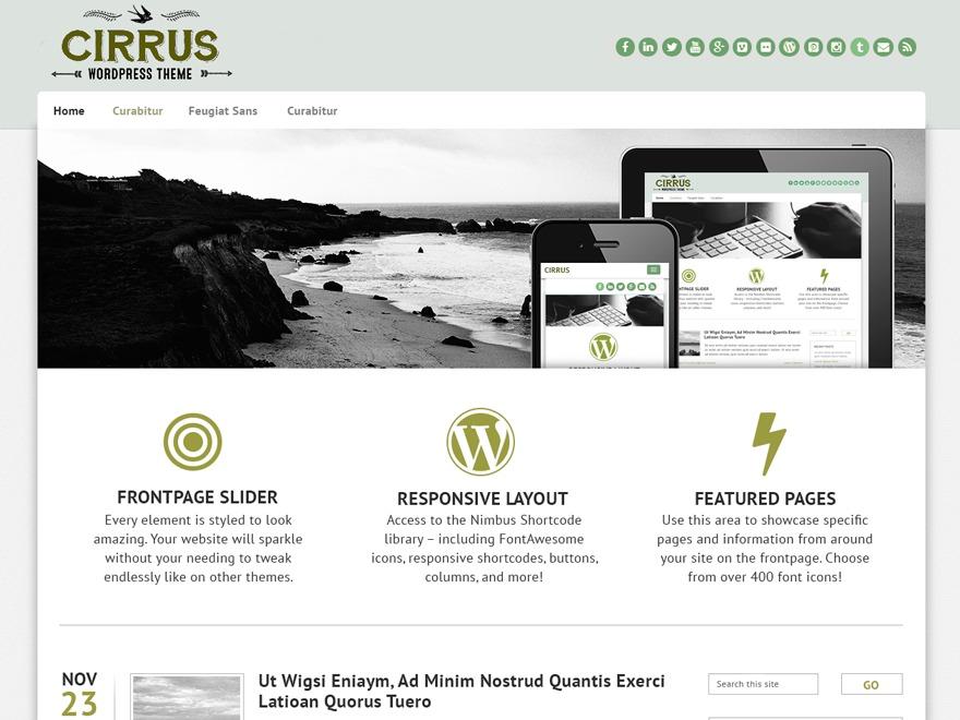 WordPress theme Cirrus Child