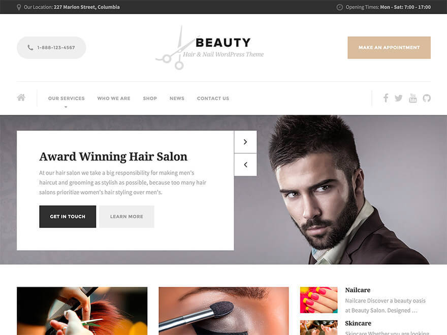 Beauty PT WordPress template for business