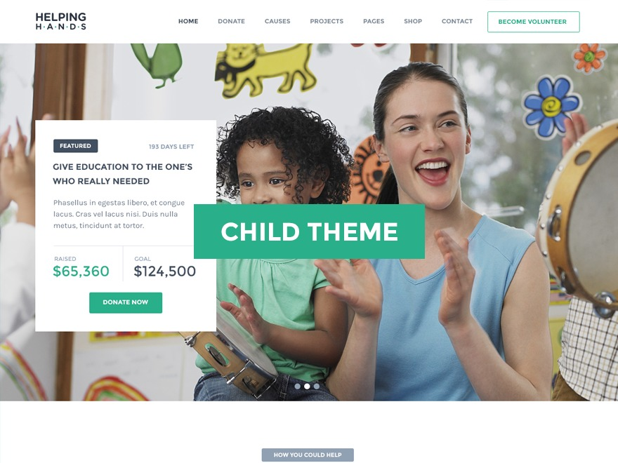 Best WordPress theme HelpingHands Child
