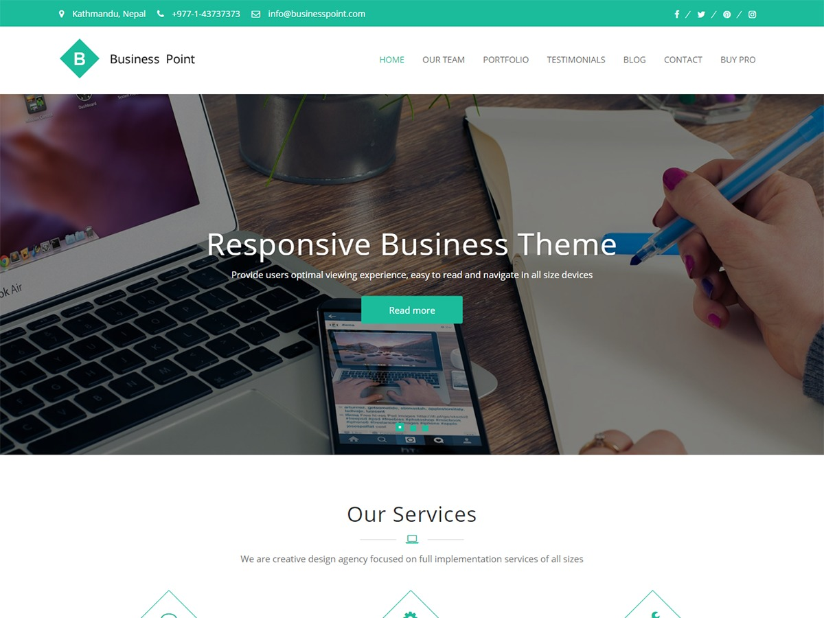 Business Point template WordPress free