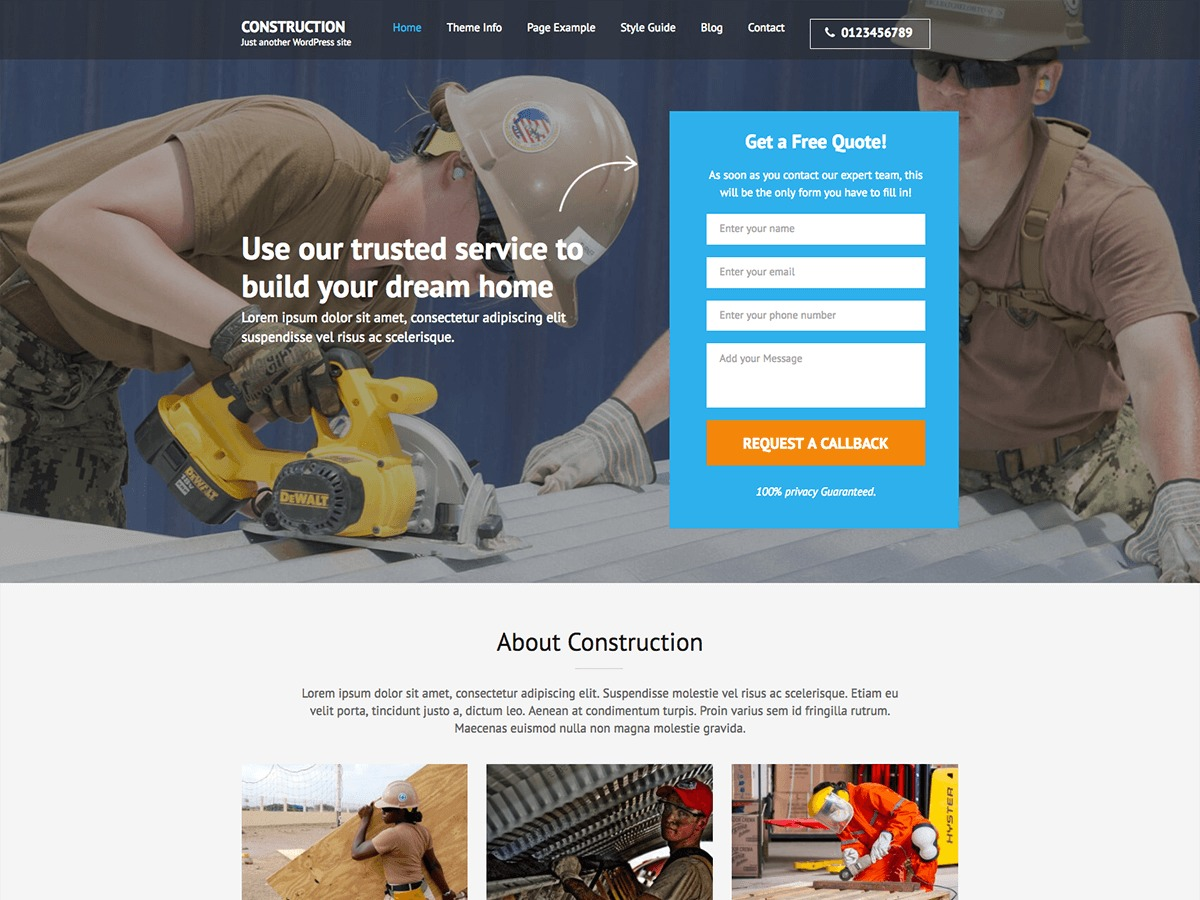 Construction Landing Page Pro WordPress template for business