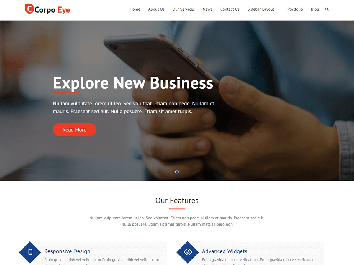 Corpo Eye free WordPress theme
