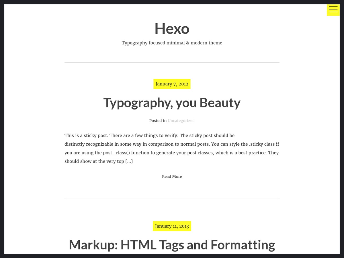 hexo free WordPress theme