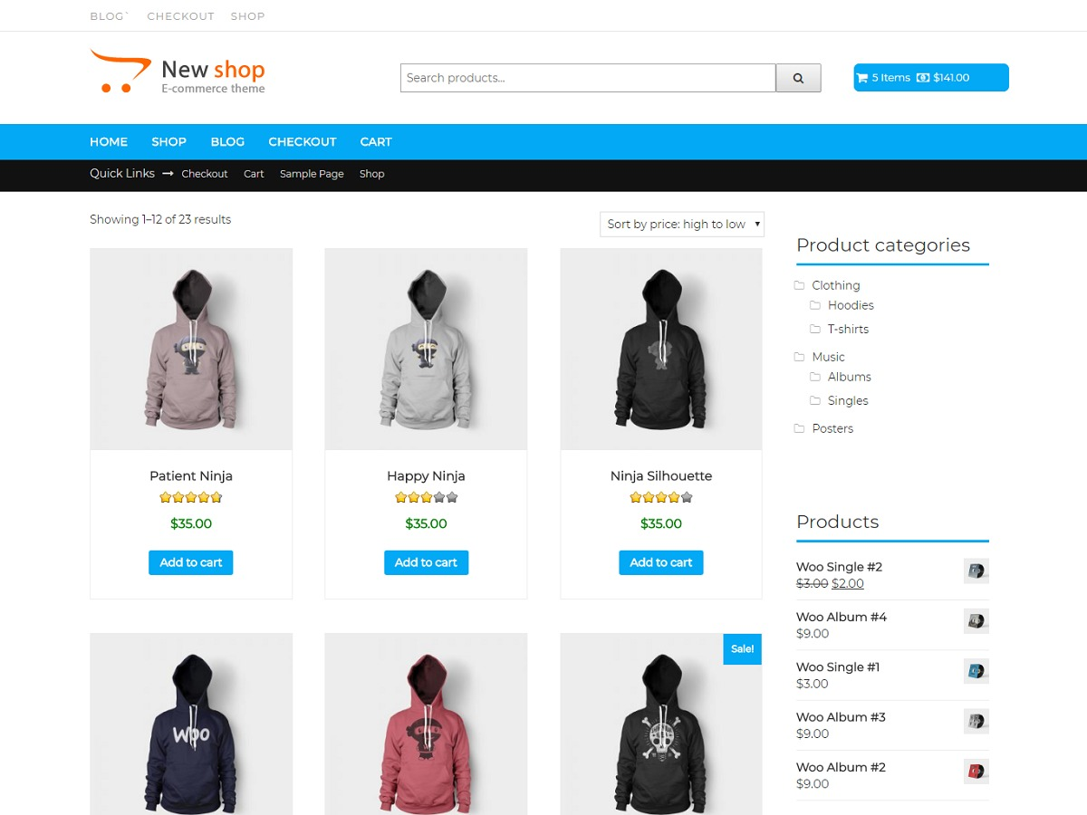 New Shop WordPress store theme