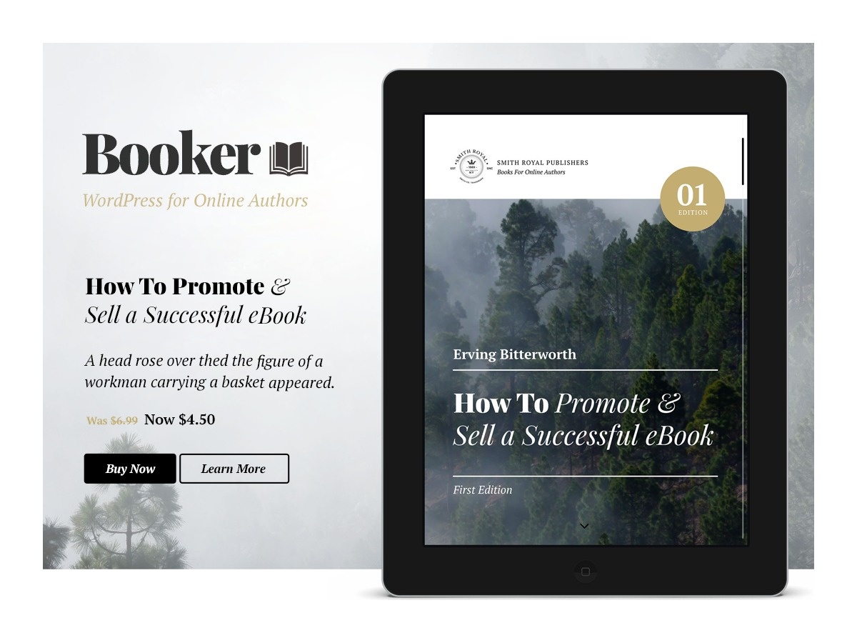 WordPress website template Booker