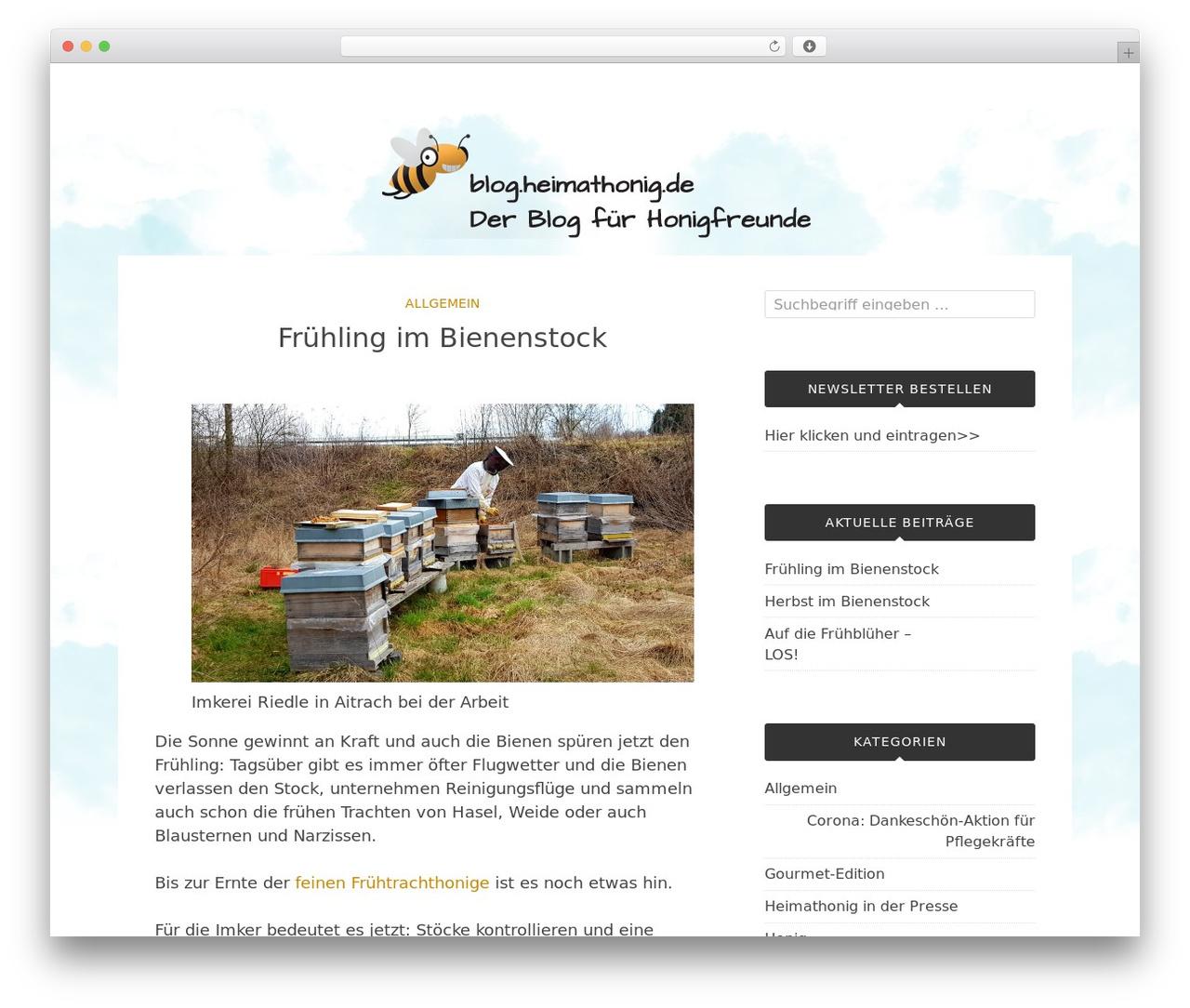 WordPress website template Bulan - blog.heimathonig.de