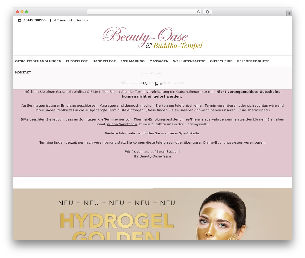 Jupiter WordPress theme - beauty-oase-limes-therme.de