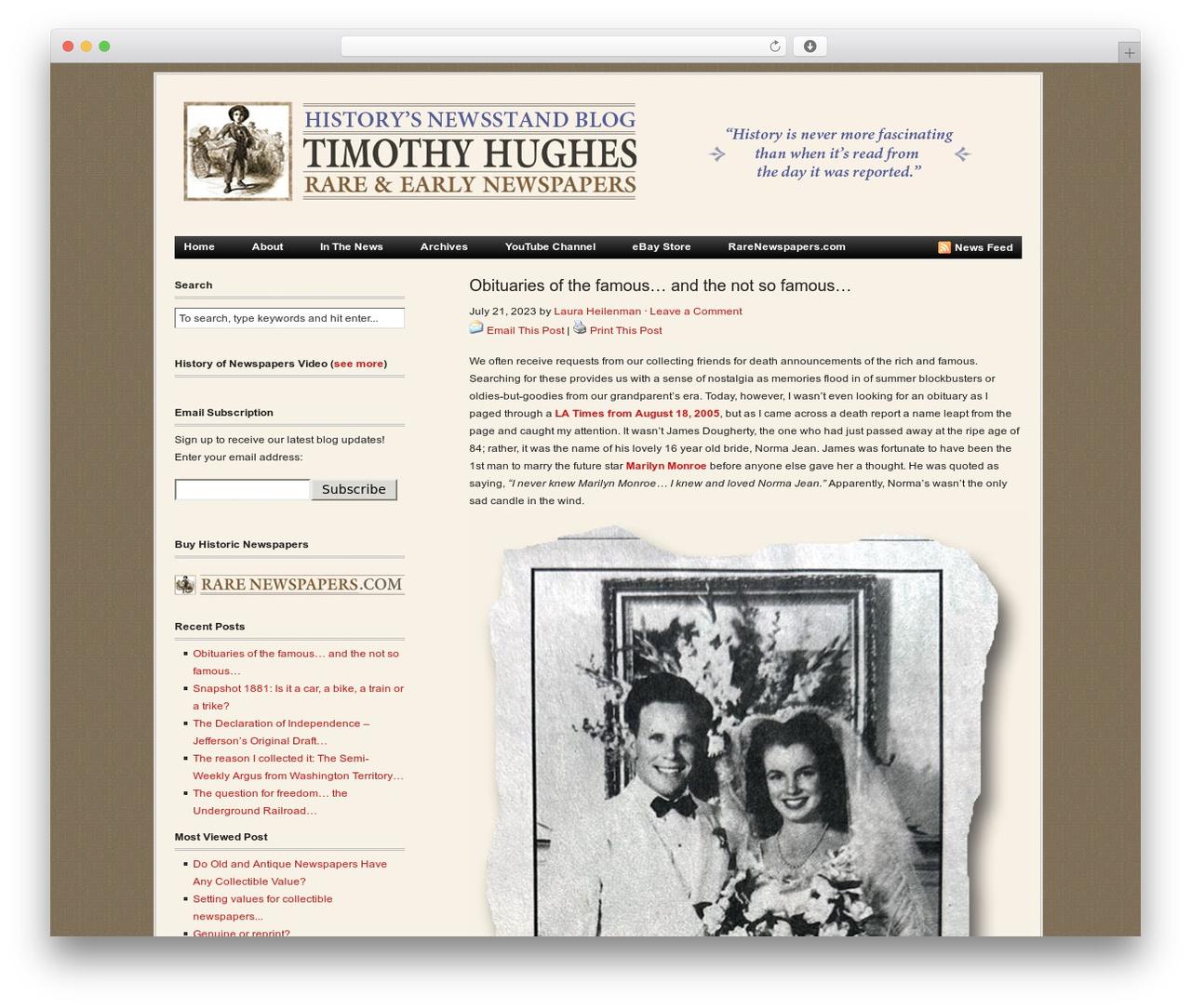Revolution newspaper WordPress theme - blog.rarenewspapers.com