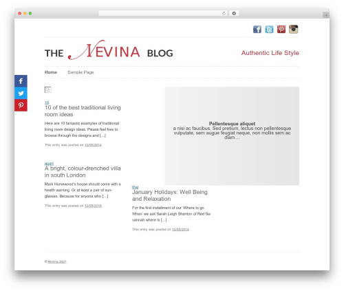 Twenty Twelve WordPress blog theme - blog.nevina.co.uk