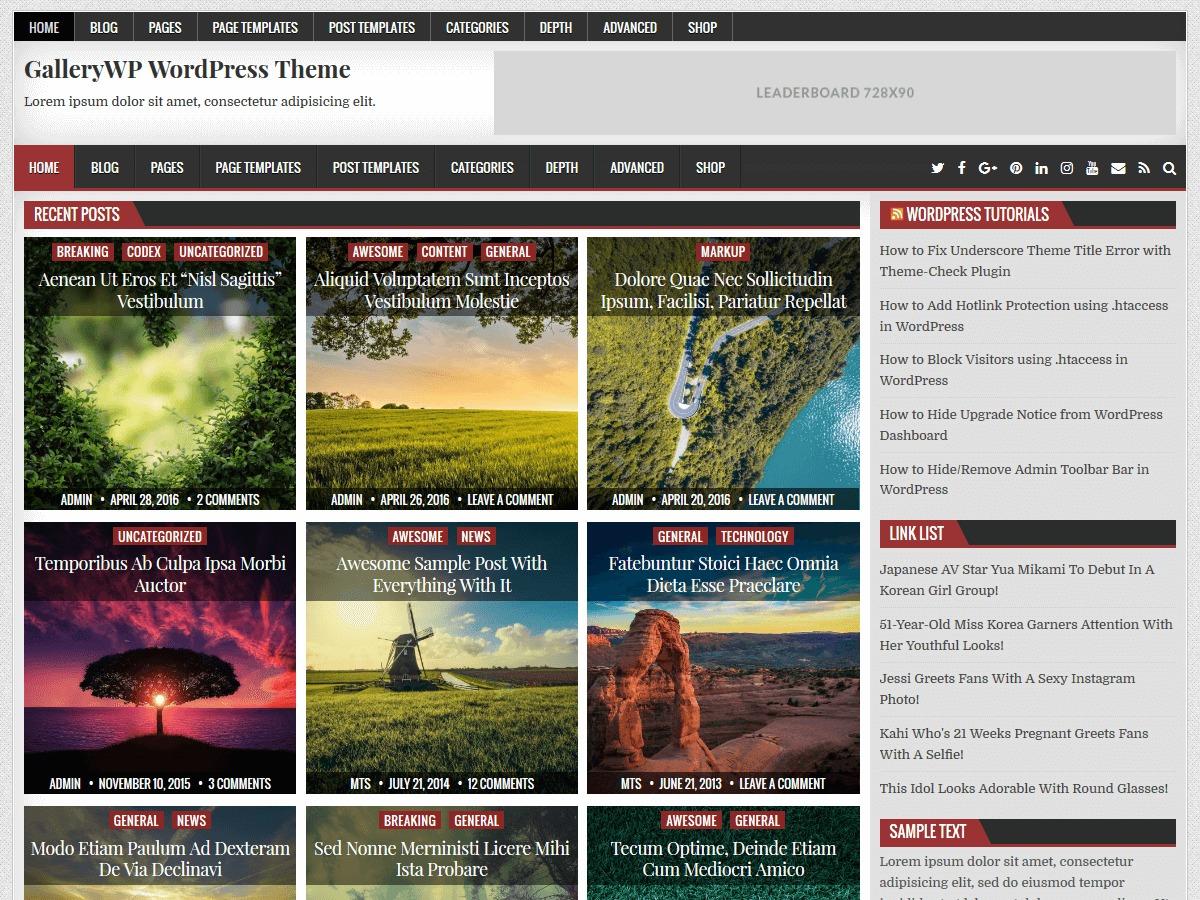 GalleryWP WordPress photo theme