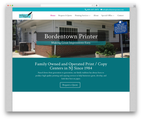 Divi WordPress ecommerce template - bordentownprinter.com