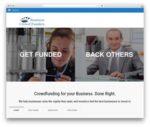 Backer WordPress theme design - businesscrowdfunders.com