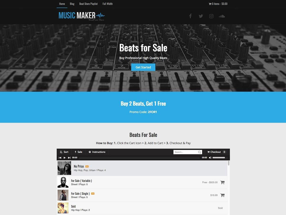 music maker template wordpress by mark valenzuela at hip hop makers
