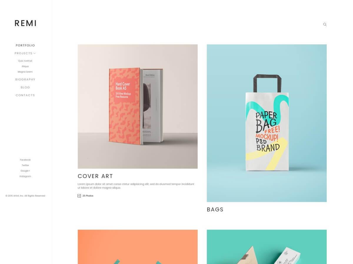 Remi WordPress portfolio theme
