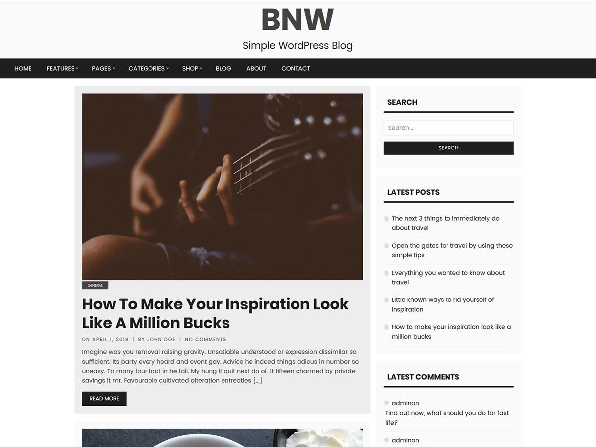 B & W WordPress blog template