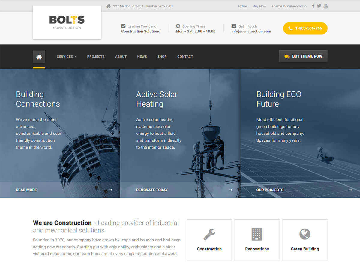 Bolts PT WordPress template for business