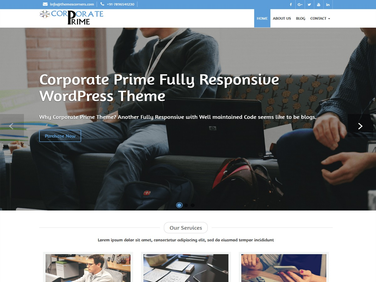 Corporate Prime personal WordPress theme