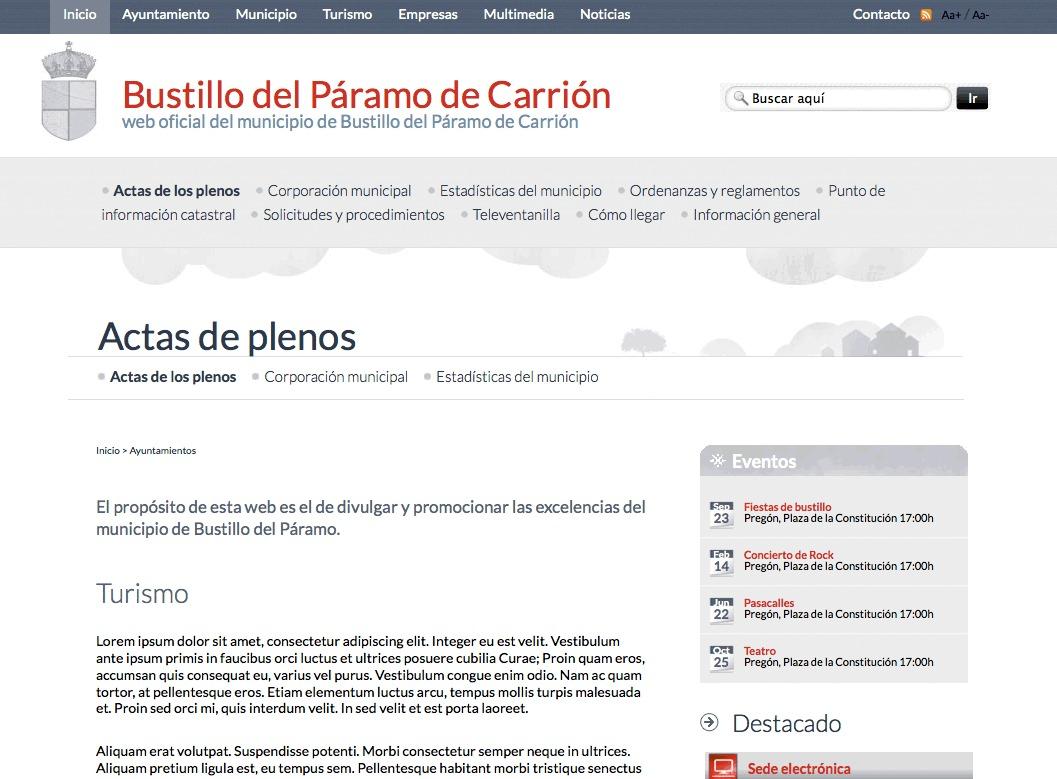 Municipios de la Diputación de Palencia | Estilo base template WordPress