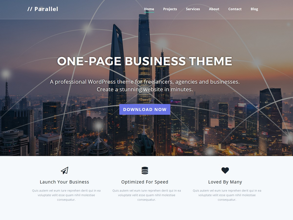 Parallel free WP theme