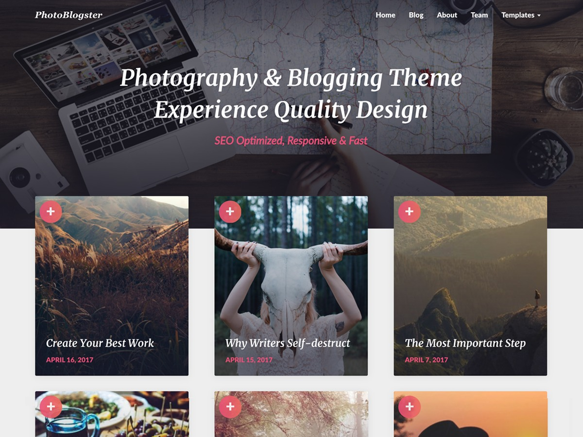 PhotoBlogster free WP theme