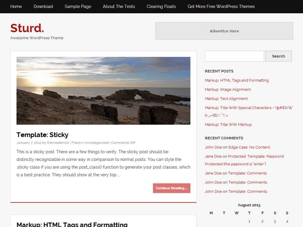 Sturd. WordPress blog template