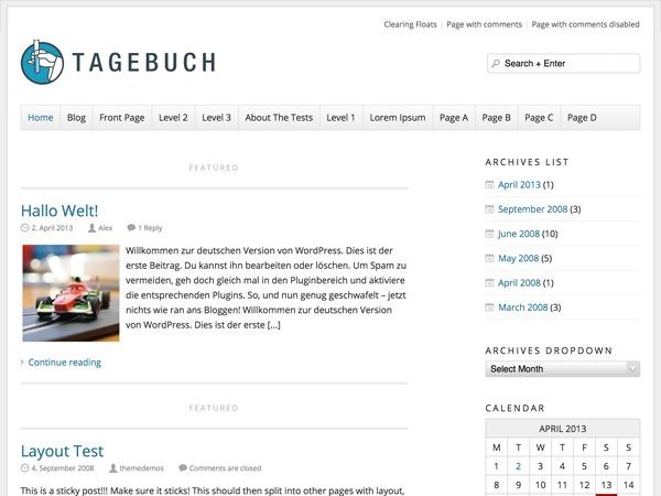 Tagebuch best WordPress template