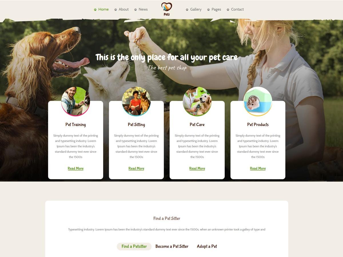 PetsWorld WordPress template for photographers