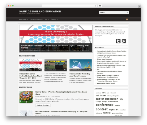 Arras WordPress gaming theme - blog.mindtoggle.com