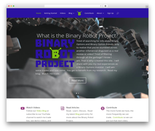 Divi WordPress page template - binaryrobotproject.com