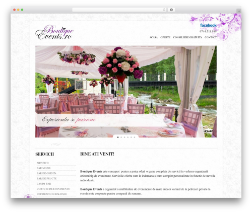 Twenty Ten best wedding WordPress theme - boutiqueevents.ro