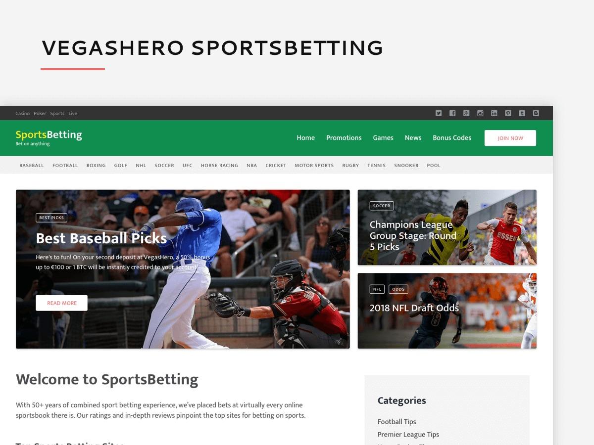 VegasHero Sports Betting Theme WP theme