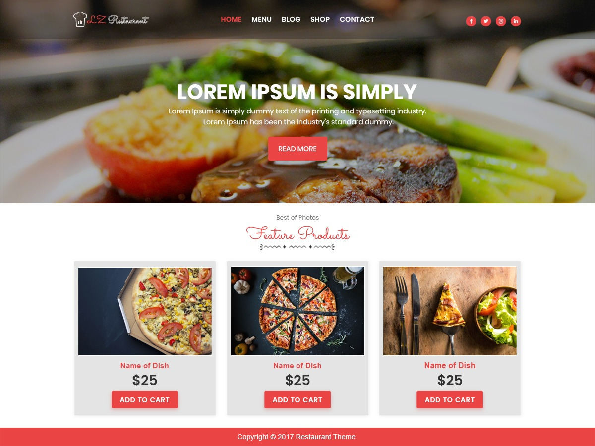 lzrestaurant best hotel WordPress theme