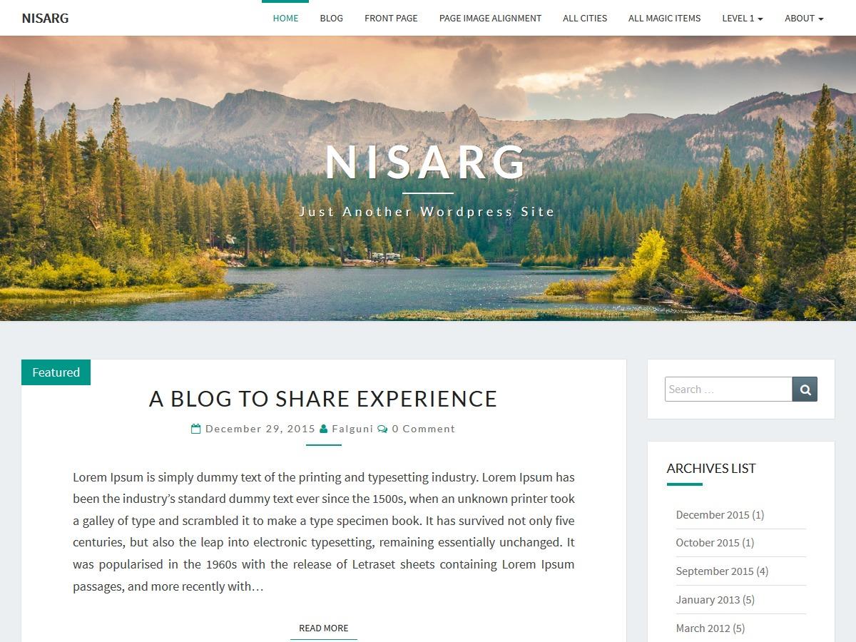 Shaun's Nisarg Child Theme WordPress travel theme