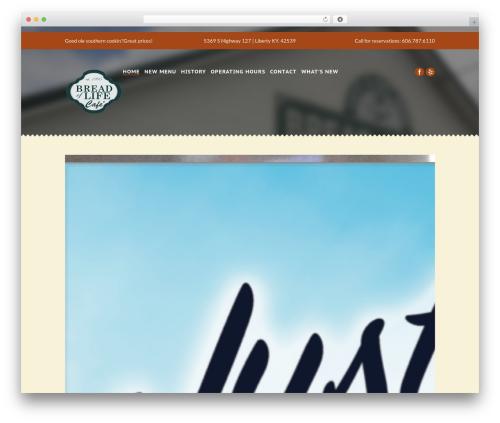 Gourmet food WordPress theme - breadoflifecafe.org