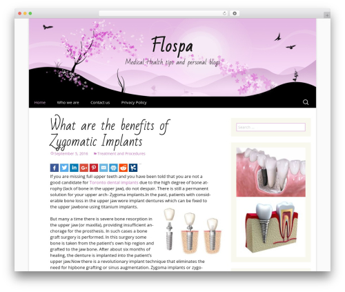 Cherry Blossom WordPress blog theme - flospa.ca