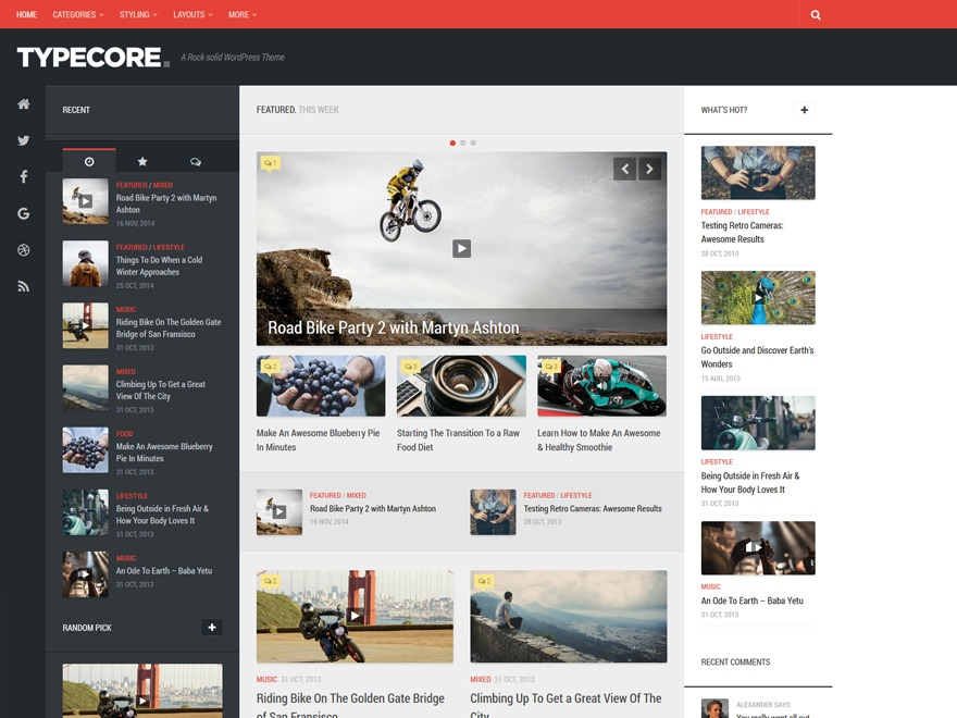 Typecore WordPress news template