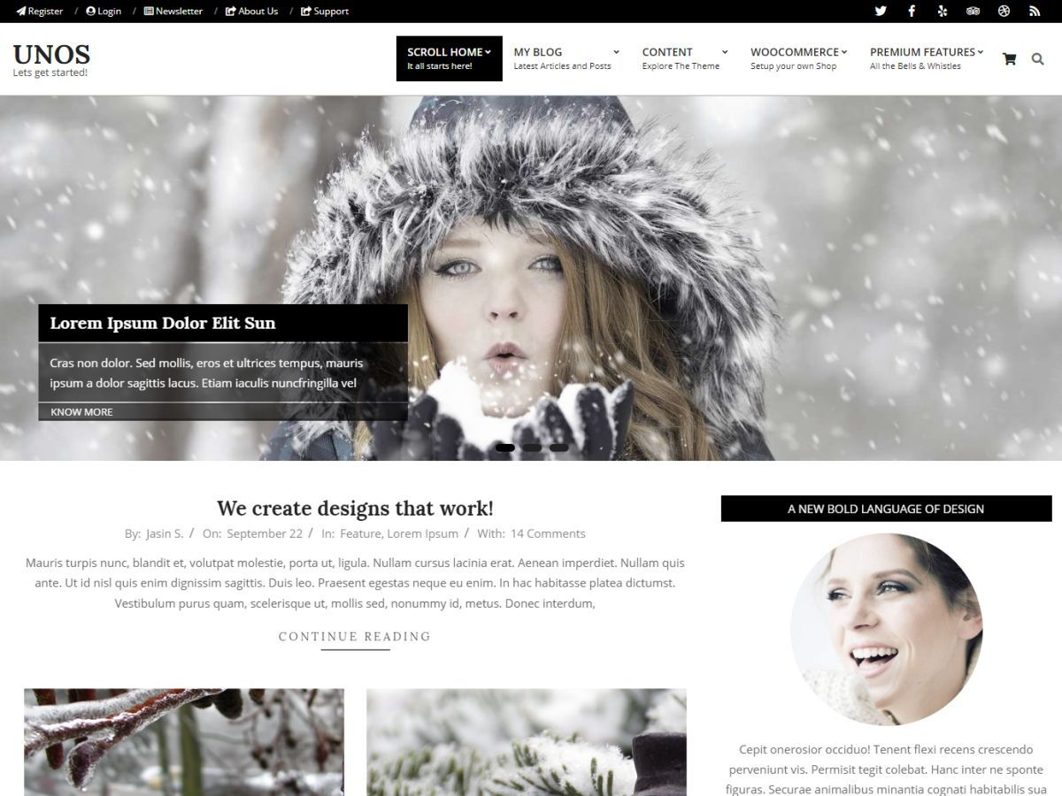 Unos WordPress theme design