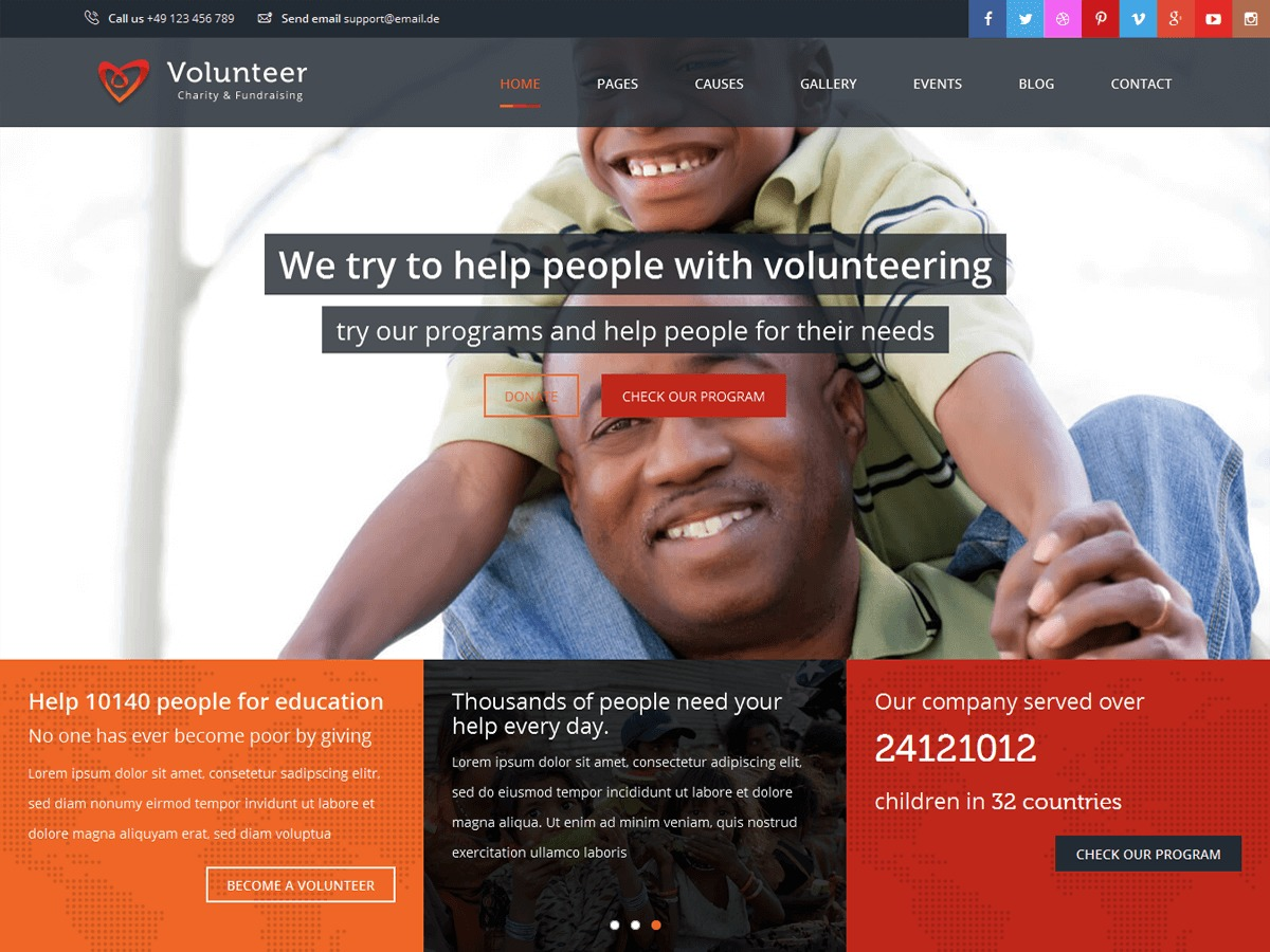 Volunteer best WordPress theme