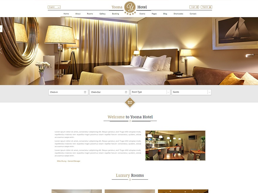 Yoona best hotel WordPress theme