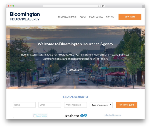 BrightFire Stellar business WordPress theme - bloomingtoninsurance.com