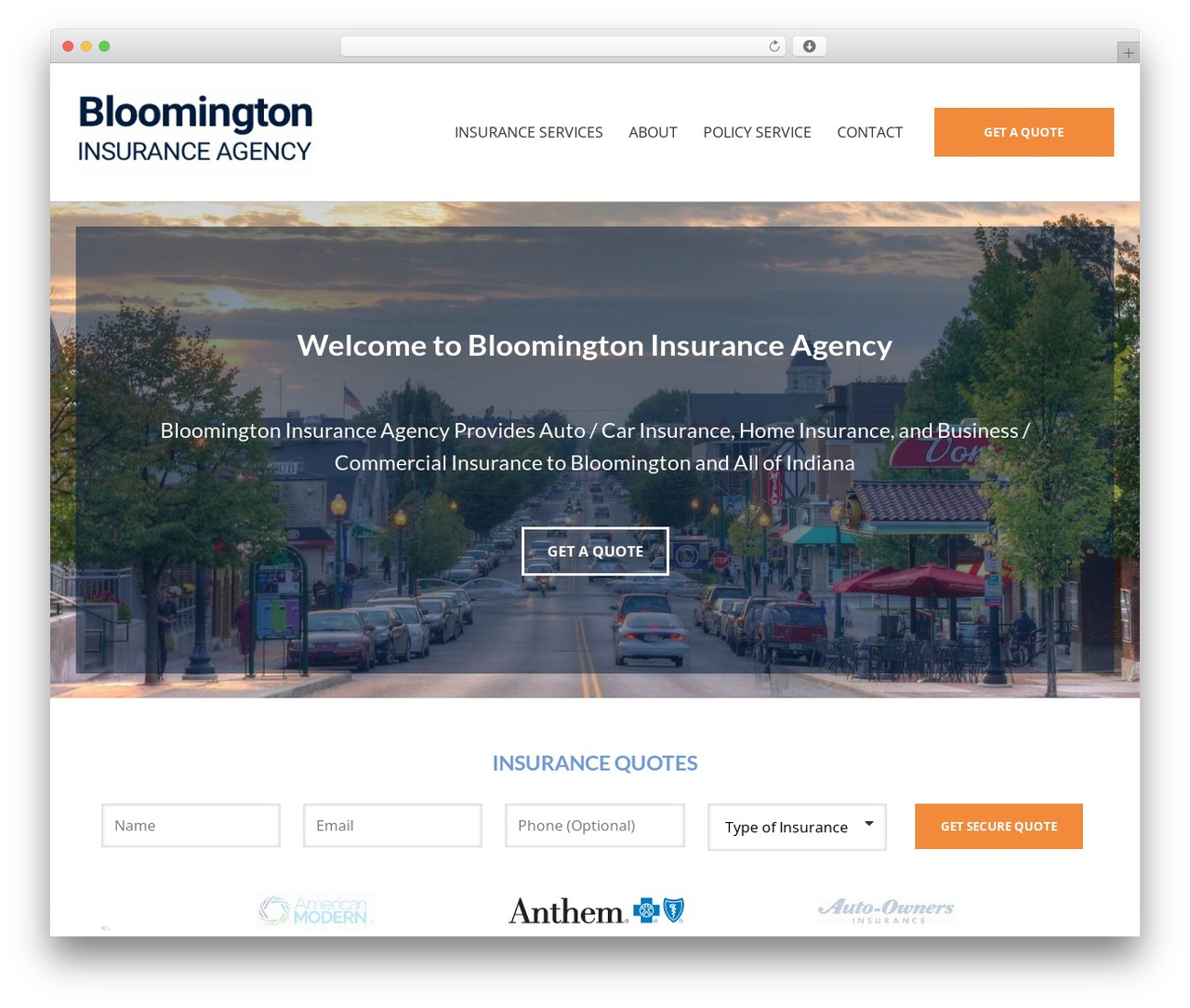 BrightFire Stellar business WordPress theme - bloomingtoninsurance.com