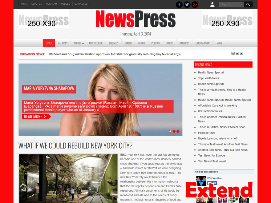 NewsPress Extend WordPress news theme
