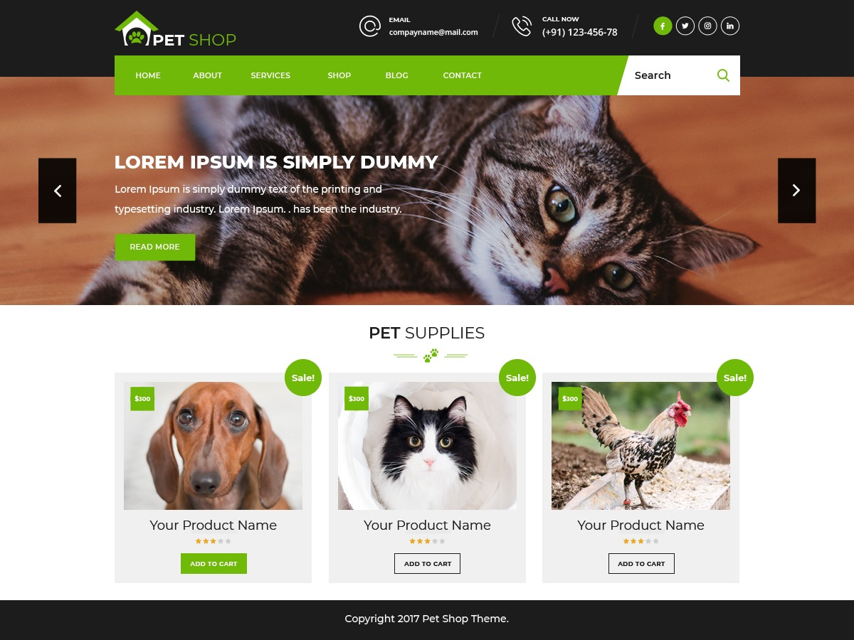 Pet Animal Store WordPress shop theme