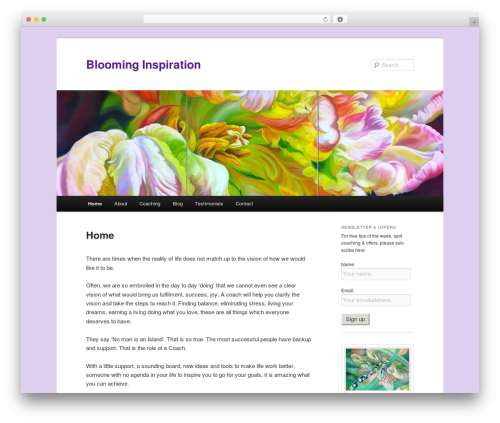 Twenty Eleven free website theme - blooming-inspiration.com