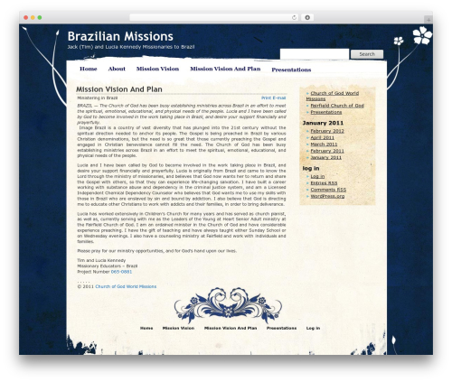 Pretty Parchment WordPress theme - brazilianmissions.com
