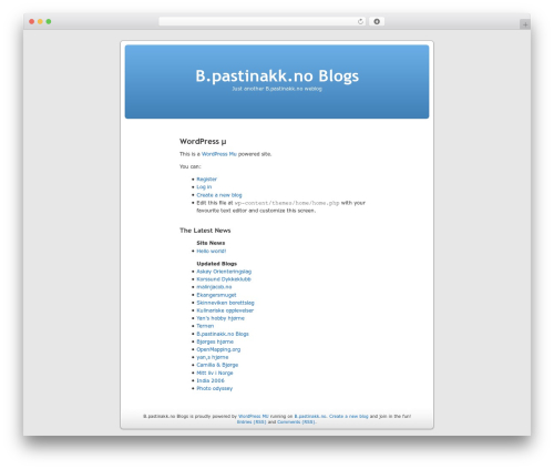 WordPress theme WordPress mu Homepage - b.pastinakk.no