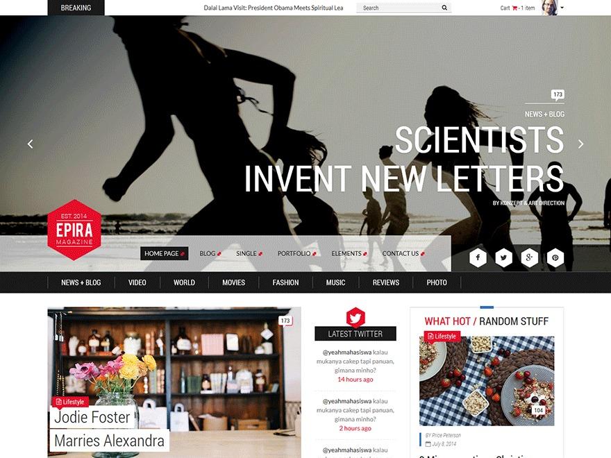 Epira - Free Version WordPress news template